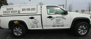 Kurt's Doggy Dooty truck ready to pick up dog poop from your yard. Leave the doggy dooty to us!